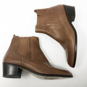 [J. Crew] Brown Leather Chelsea Ankle Booties